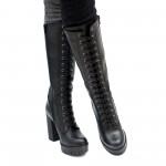 Дамски ботуши от естествена матова кожа в черен цвят на висок ток-1796