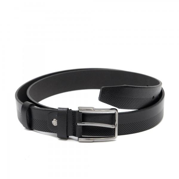 Дамски колан от естествена кожа с перфорация в черен цвят-4116