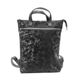 Дамска ежедневна чанта от еко кожа в черен цвят с камуфлажен ефект-1799