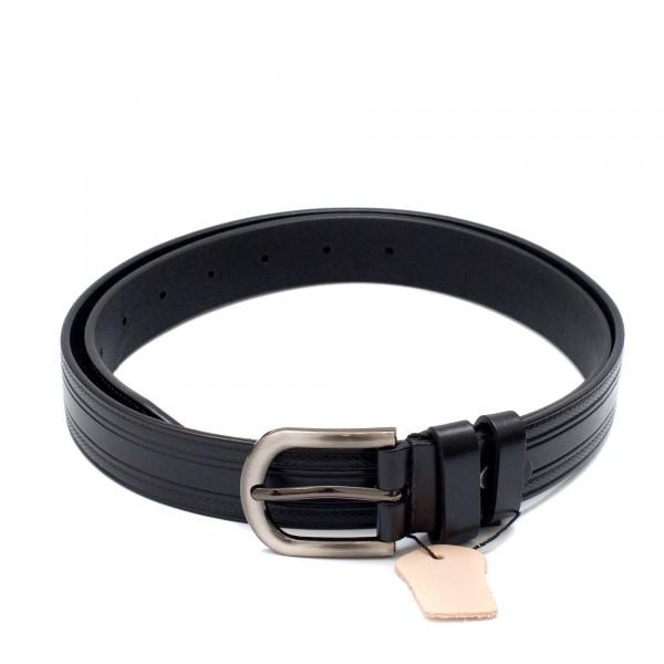 Класически черен дамски колан от естествена кожа-4130