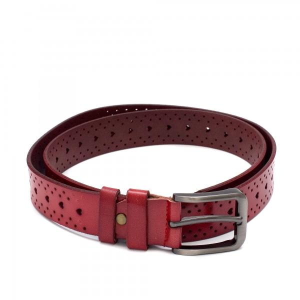Дамски стилен червен колан от естествена кожа с перфорация сърца, моден аксесоар за талия-3490