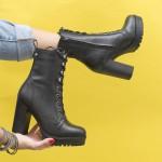 Модерни дамски боти от естествена кожа в черен цвят на удобен устойчив ток-1818