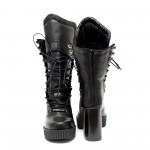 Дамски елегантни боти от естествена кожа черни с ток и ефектни връзки-640