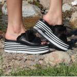 Дамски чехли от естествена кожа черни - 411