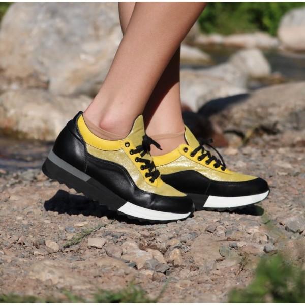 Дамски кецове от естествена кожа черно + жълто - 361