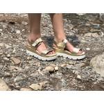 Дамски сандали от естествена кожа златисти-482