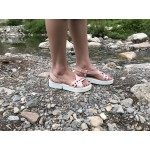 Дамски сандали от естествена кожа пудра с капси-484