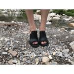 Дамски летни чехли от естествена кожа черни на ток-485