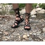 Дамски сандали от естествена кожа черни на ленти-475