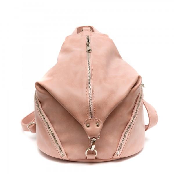 Дамска раница розова от еко кожа-151