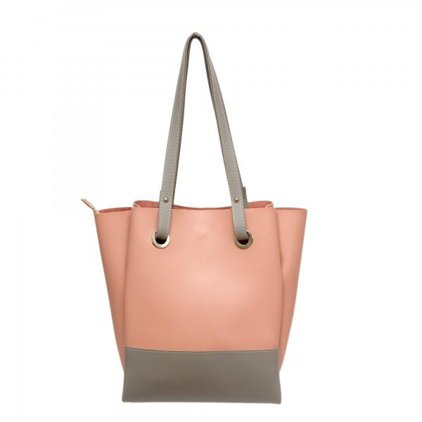 Дамска  чанта от еко кожа розова-349
