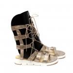 Дамски сандали от естествена кожа на ленти златисти-476