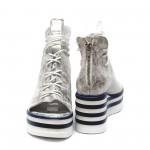 Дамски летни сандали от естествена кожа сребристи на платформа-474