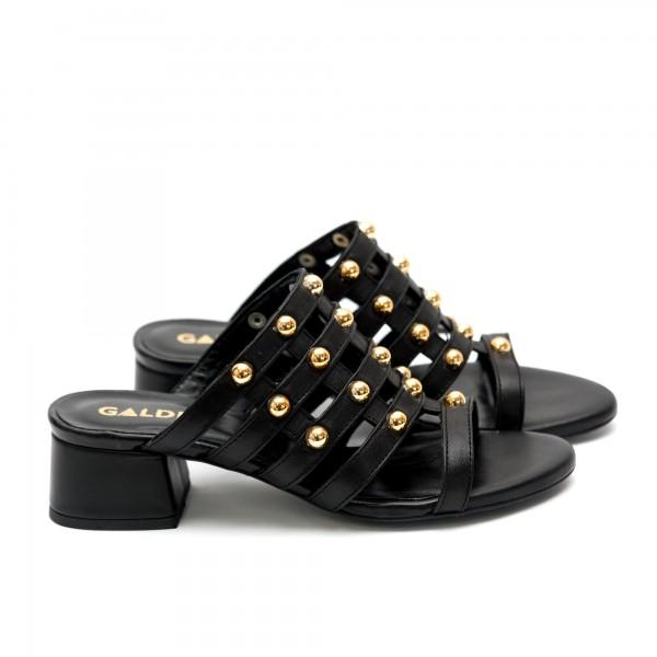 Дамски летни чехли от естествена кожа черни-473