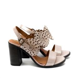 Дамски сандали от естествена кожа в пудра с висок ток-478