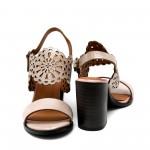 Дамски сандали от естествена кожа пудра на ток-478