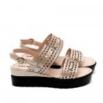Дамски сандали от естествена кожа пудра-477