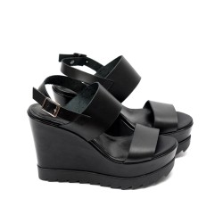 Дамски сандали от естествена кожа черни на платформа-490