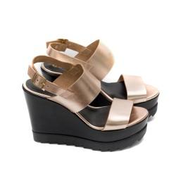 Дамски сандали от естествена кожа цвят бакър на платформа-489