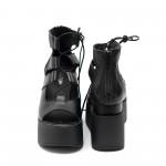 Дамски сандали от естествена кожа черни на платформа с връзки-487