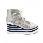 Дамски летни обувки от естествена кожа сребристи на платформа с връзки-486