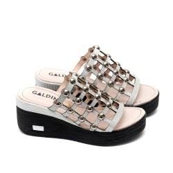 Дамски чехли летни от естествена кожа с капси сребристи-493