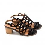 Дамски черни сандали от естествена кожа с лазерно изрязване и нисък ток-491