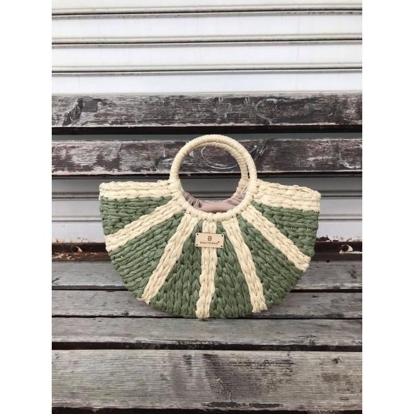 Дамска плетена чанта в комбинация от зелено и бежово-1699