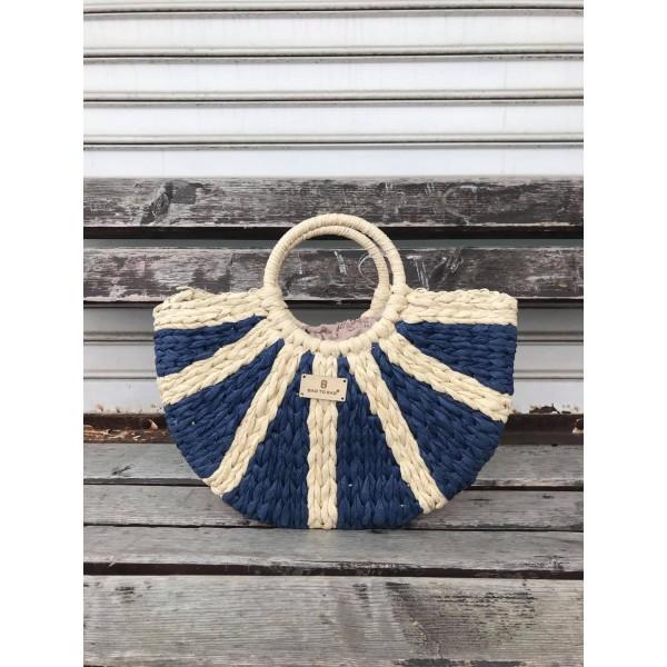 Дамска плетена чанта в комбинация от бежов и син цвят-1699