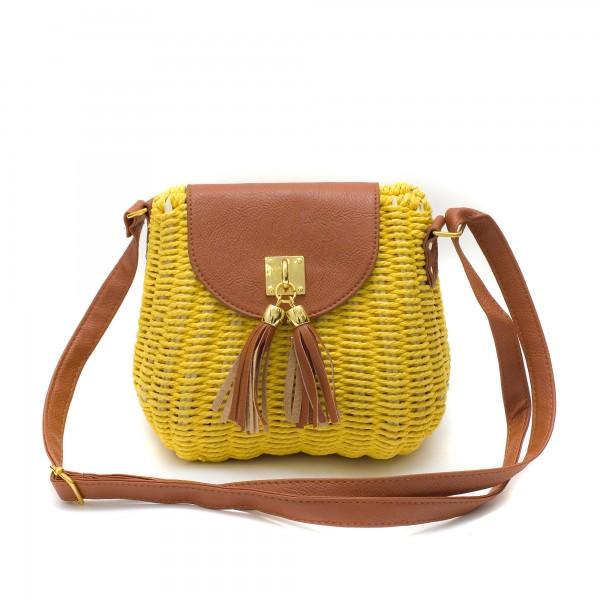 Дамска малка плетена чанта в комбинация от жълто и кафяво-1695
