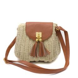 Дамска малка плетена  чанта в комбинация от бежово и кафяво-1695