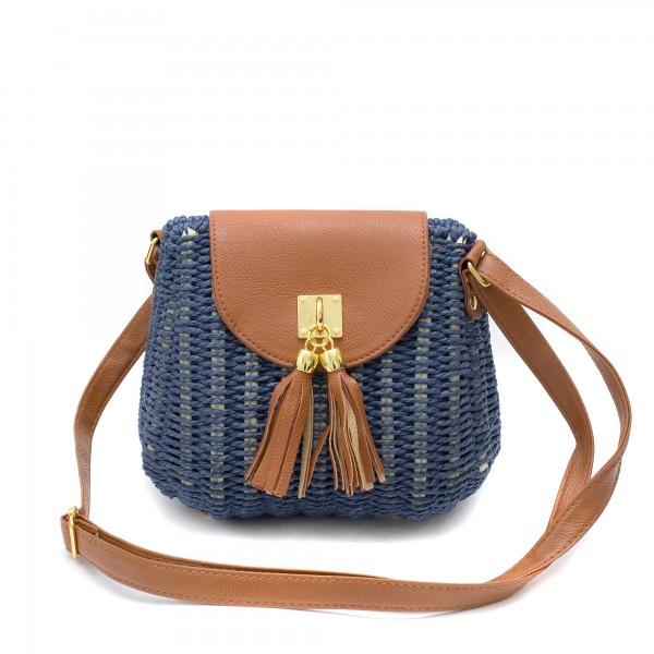 Малка плетена дамска чанта в тъмносин цвят и кафяво с регулиращи се дръжки-1695
