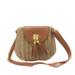 Кокетна малка плетена дамска чанта в комбинация от цвят таба, кафяво и златни декорации-1695