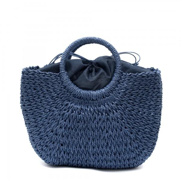 Модерна плетена дамска чанта в син цвят-1701