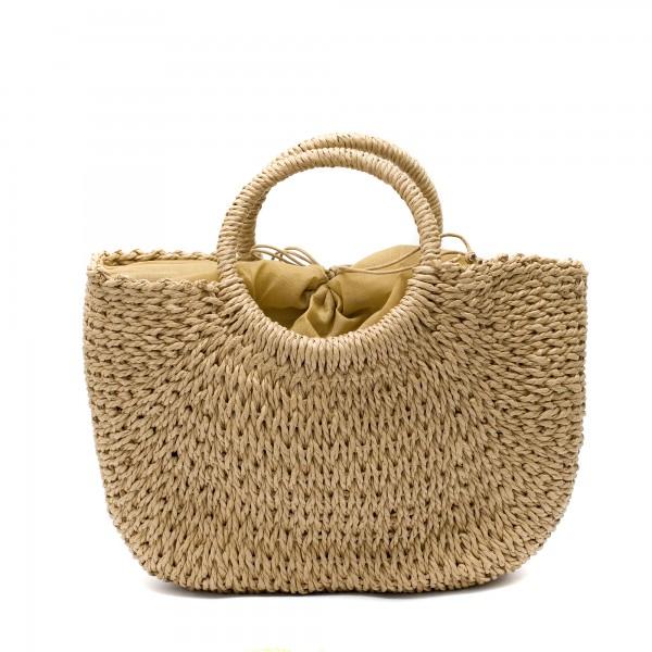 Сламена дамска чанта тип кошница в кафяв цвят-1701