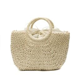 Дамска сламена чанта в бежов цвят-1701