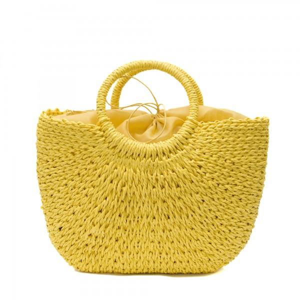 Изчистена плетена дамска чанта с кръгли дръжки с жълт цвят-1701