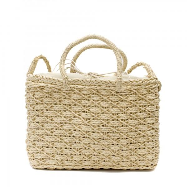 Ежедневна сламена дамска чанта в бежов цвят-1700