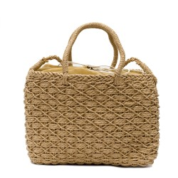 Дамска сламена плетена чанта в кафяв цвят-1700