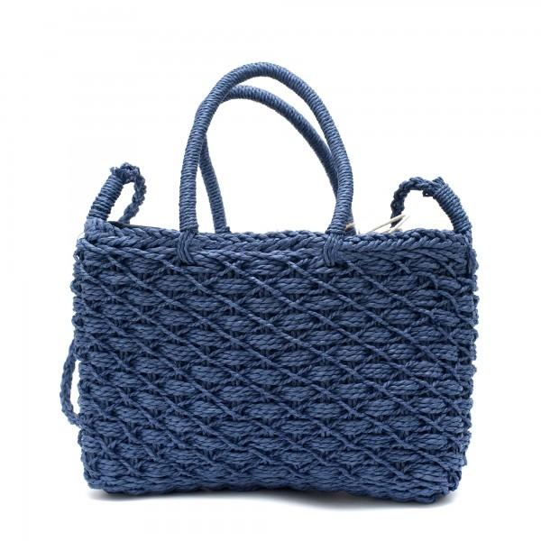 Стилна дамска плетена чанта в син цвят-1700
