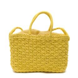 Жълта дамска плетена чанта в бохо стил-1700