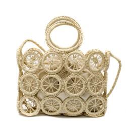 Дамска плетена бежова чанта с модерен дизайн-1697