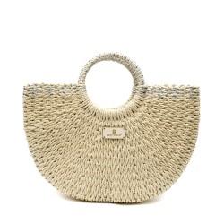 Дамска плетена чанта в бежов цвят със сребристи орнаменти-1698