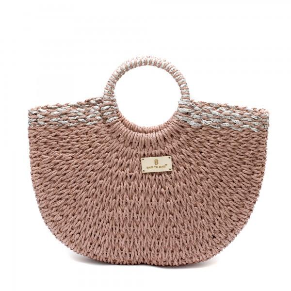 Дамска плетена чанта в цвят пудра със сребрист ефект-1698