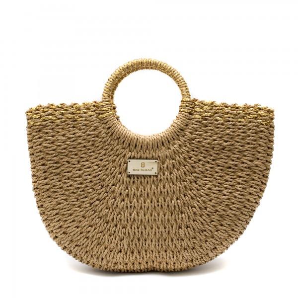 Кафява ежедневна дамска плетена чанта със златни нишки -1698