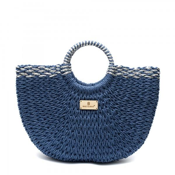 Дамска плетена чанта тип кошница в син цвят и сребърни нишки-1698