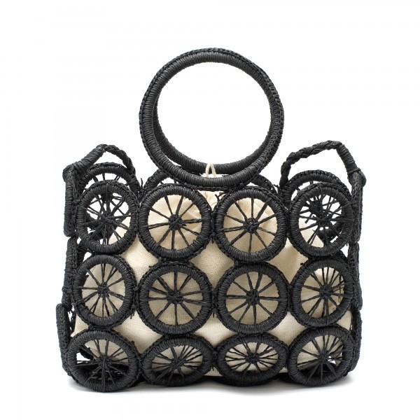 Модерна плетена дамска чанта в черен цвят с интересен дизайн-1697
