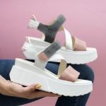 Дизайнерски дамски сандали от естествена кожа в комбинация от цвят пудра, бяло и сиво на модерна платформа-1703