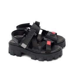 Дизайнерски дамски сандали от естествена кожа в черен цвят, велкро лепенки, червен акцент и модерно ходило-1707