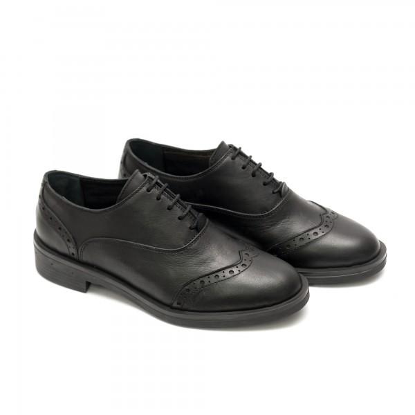 Дамски есенни обувки от естествена кожа черни-516